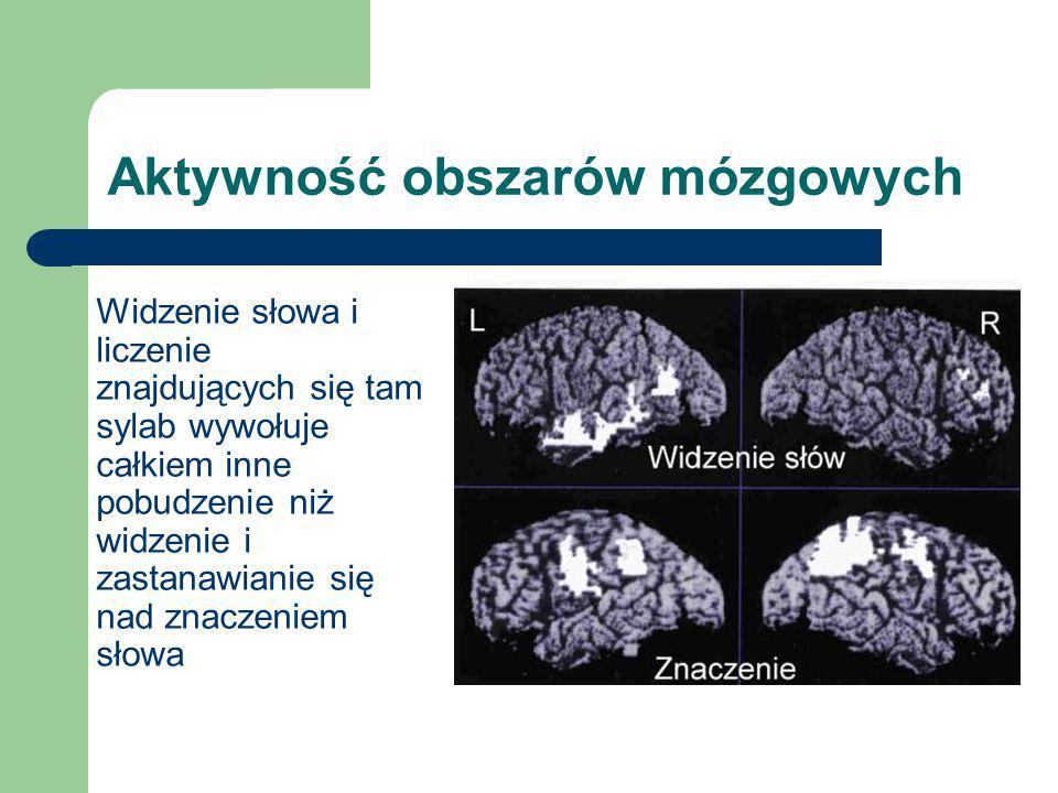 Aktywność obszarów mózgowych Widzenie słowa i liczenie znajdujących się tam sylab wywołuje całkiem inne pobudzenie niż widzenie i zastanawianie się na