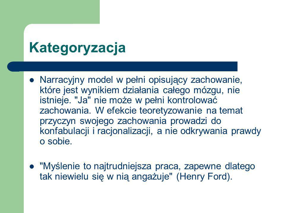 Kategoryzacja Narracyjny model w pełni opisujący zachowanie, które jest wynikiem działania całego mózgu, nie istnieje.