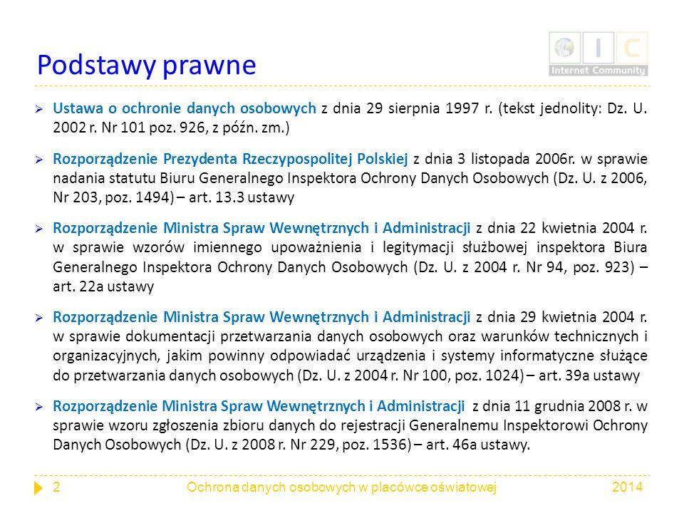 Podstawy prawne  Ustawa o ochronie danych osobowych z dnia 29 sierpnia 1997 r. (tekst jednolity: Dz. U. 2002 r. Nr 101 poz. 926, z późn. zm.)  Rozpo