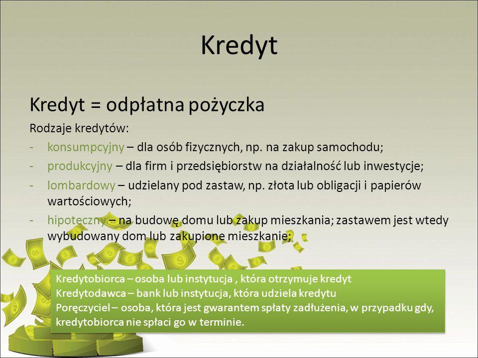 Kredyt Kredyt = odpłatna pożyczka Rodzaje kredytów: -konsumpcyjny – dla osób fizycznych, np. na zakup samochodu; -produkcyjny – dla firm i przedsiębio