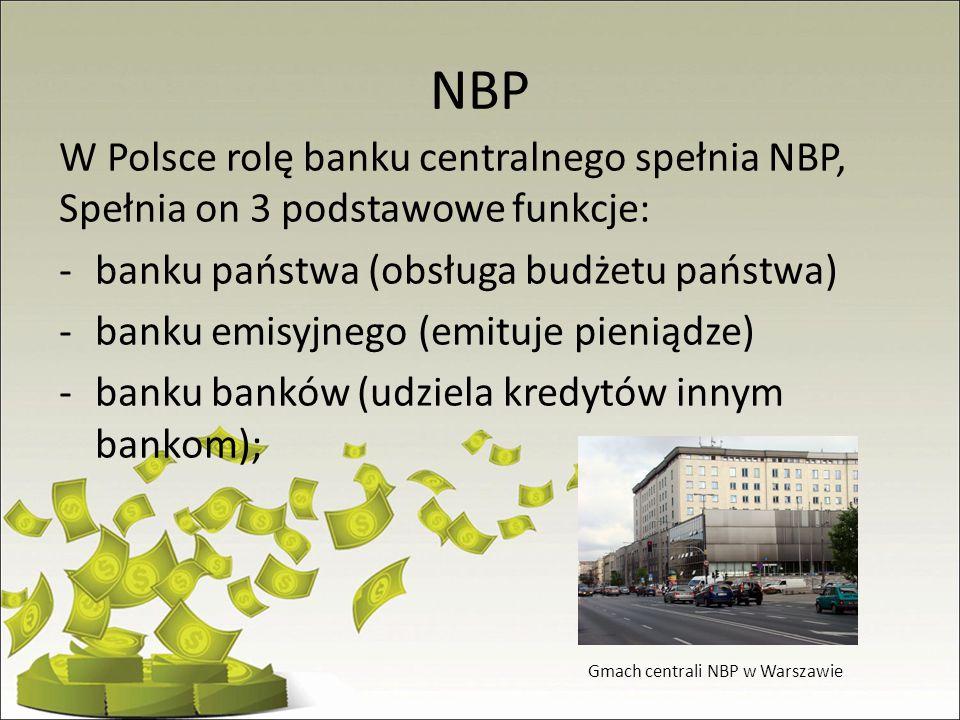 NBP W Polsce rolę banku centralnego spełnia NBP, Spełnia on 3 podstawowe funkcje: -banku państwa (obsługa budżetu państwa) -banku emisyjnego (emituje