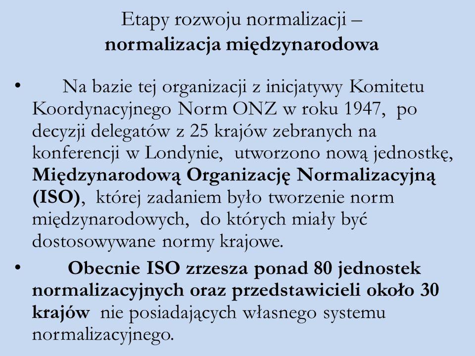Etapy rozwoju normalizacji – normalizacja międzynarodowa Na bazie tej organizacji z inicjatywy Komitetu Koordynacyjnego Norm ONZ w roku 1947, po decyz