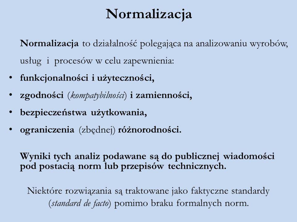 Normalizacja Normalizacja to działalność polegająca na analizowaniu wyrobów, usług i procesów w celu zapewnienia: funkcjonalności i użyteczności, zgod
