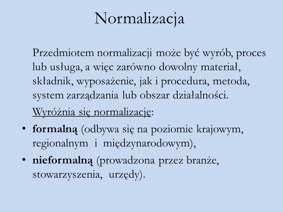 Normalizacja Przedmiotem normalizacji może być wyrób, proces lub usługa, a więc zarówno dowolny materiał, składnik, wyposażenie, jak i procedura, meto