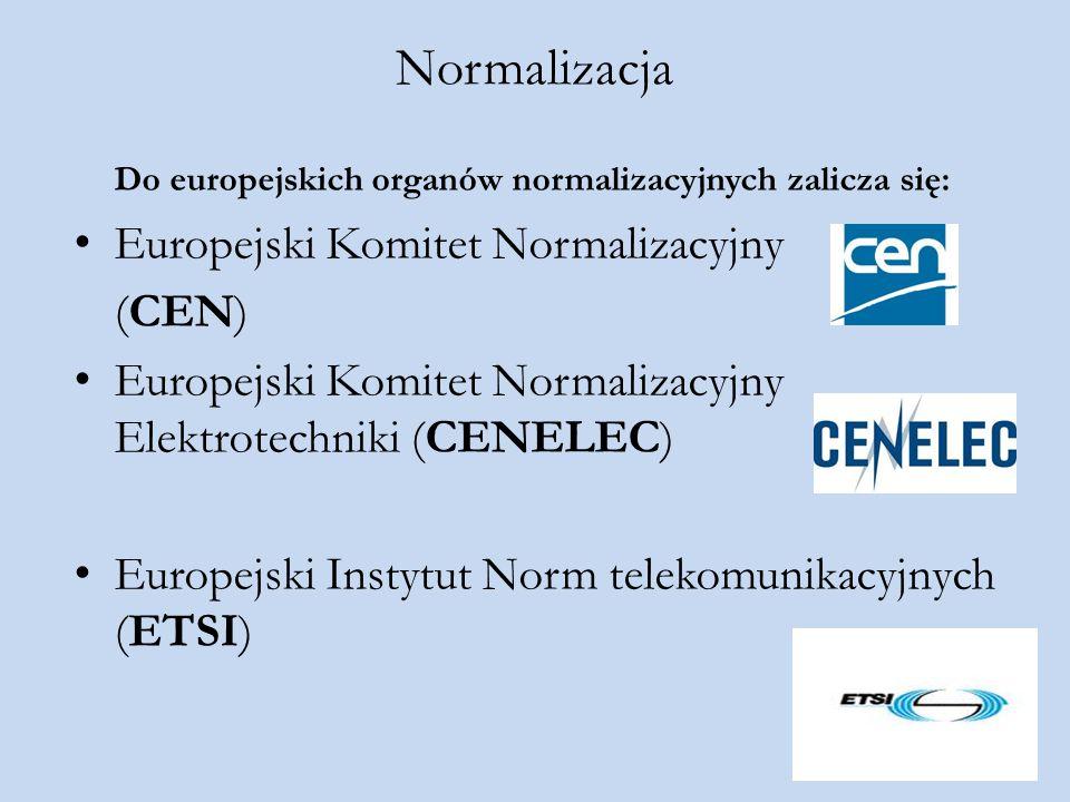 Normalizacja Do europejskich organów normalizacyjnych zalicza się: Europejski Komitet Normalizacyjny (CEN) Europejski Komitet Normalizacyjny Elektrote