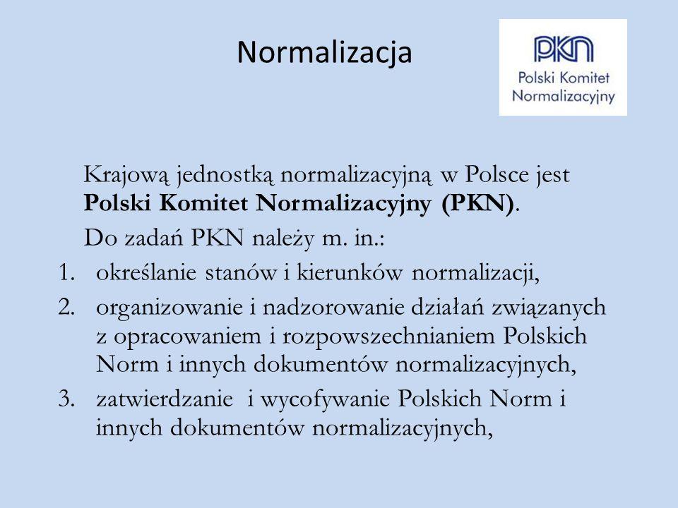 Normalizacja Krajową jednostką normalizacyjną w Polsce jest Polski Komitet Normalizacyjny (PKN). Do zadań PKN należy m. in.: 1.określanie stanów i kie