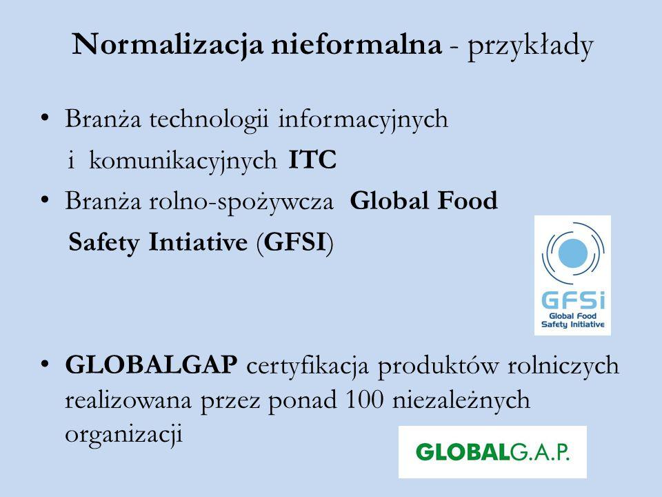 Normalizacja nieformalna - przykłady Branża technologii informacyjnych i komunikacyjnych ITC Branża rolno-spożywcza Global Food Safety Intiative (GFSI