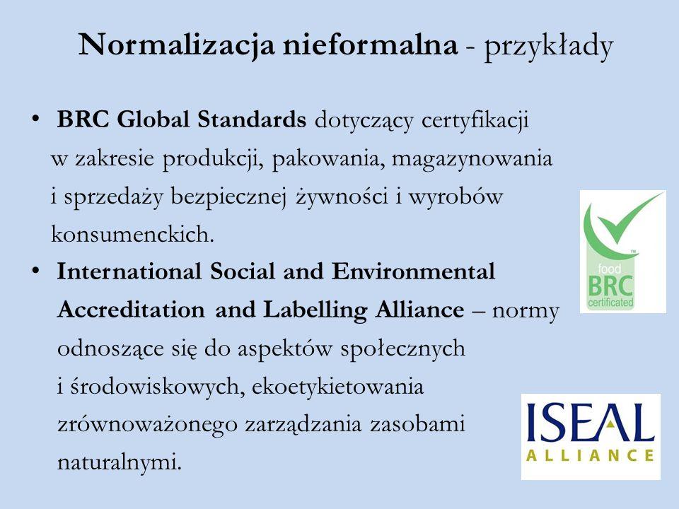 Normalizacja nieformalna - przykłady BRC Global Standards dotyczący certyfikacji w zakresie produkcji, pakowania, magazynowania i sprzedaży bezpieczne