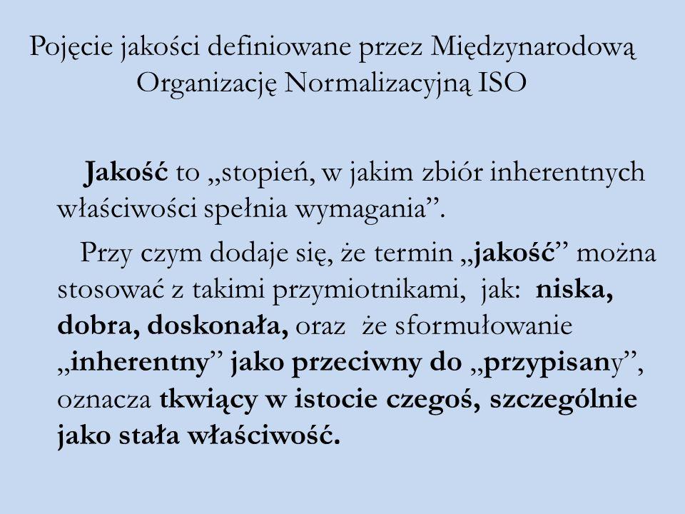 """Pojęcie jakości definiowane przez Międzynarodową Organizację Normalizacyjną ISO Jakość to """"stopień, w jakim zbiór inherentnych właściwości spełnia wym"""