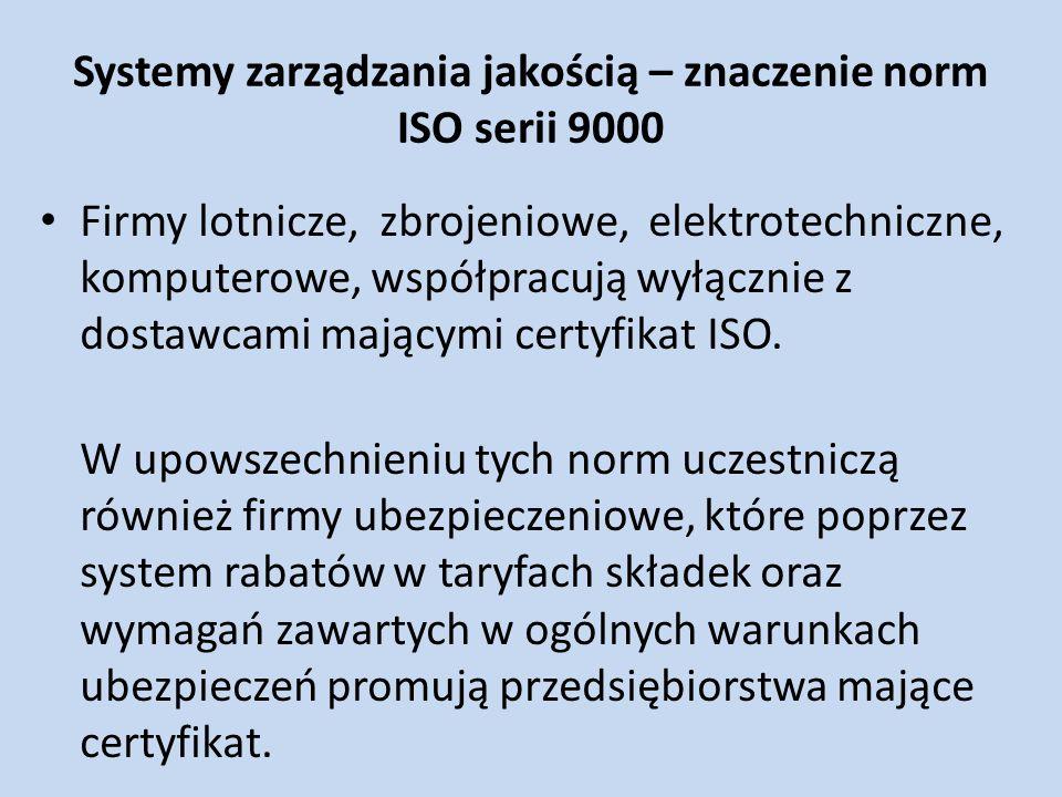 Systemy zarządzania jakością – znaczenie norm ISO serii 9000 Firmy lotnicze, zbrojeniowe, elektrotechniczne, komputerowe, współpracują wyłącznie z dos