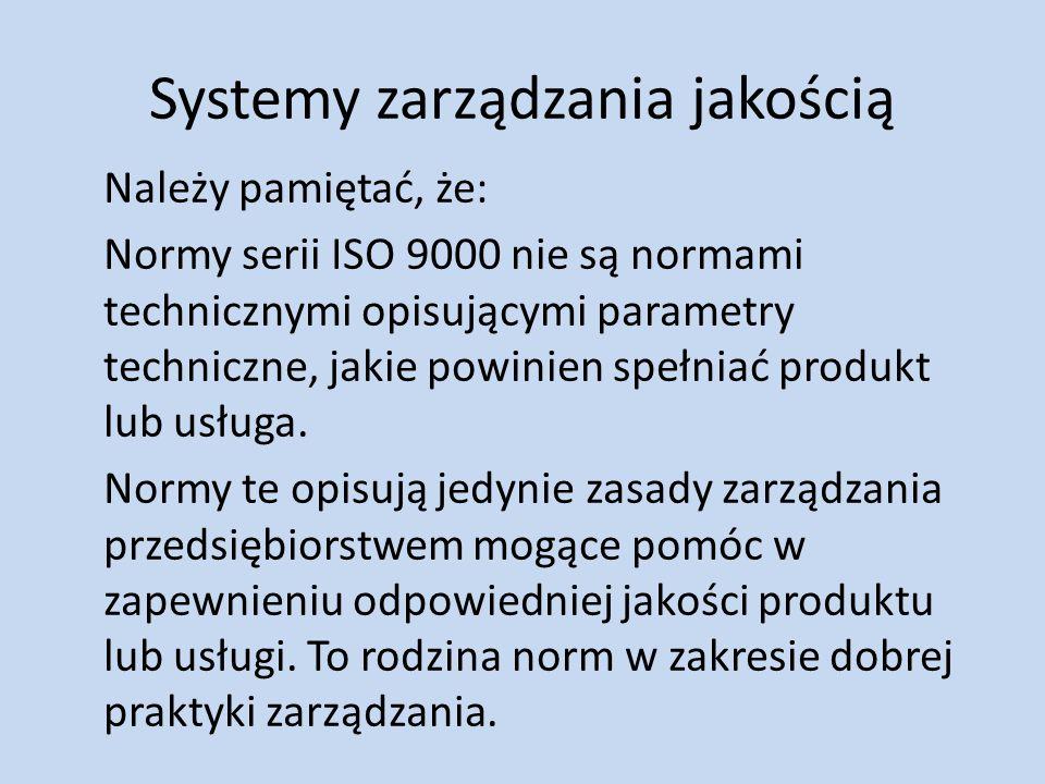 Systemy zarządzania jakością Należy pamiętać, że: Normy serii ISO 9000 nie są normami technicznymi opisującymi parametry techniczne, jakie powinien sp