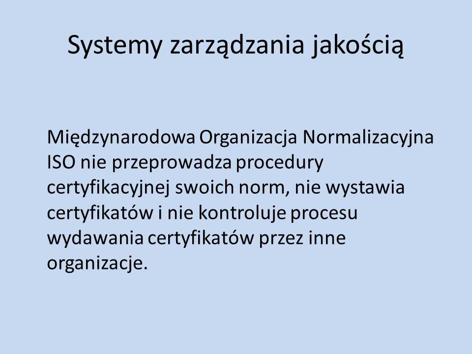 Systemy zarządzania jakością Międzynarodowa Organizacja Normalizacyjna ISO nie przeprowadza procedury certyfikacyjnej swoich norm, nie wystawia certyf