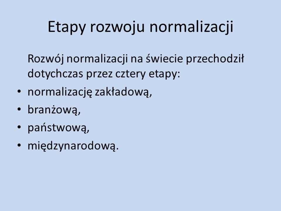 Etapy rozwoju normalizacji Rozwój normalizacji na świecie przechodził dotychczas przez cztery etapy: normalizację zakładową, branżową, państwową, międ