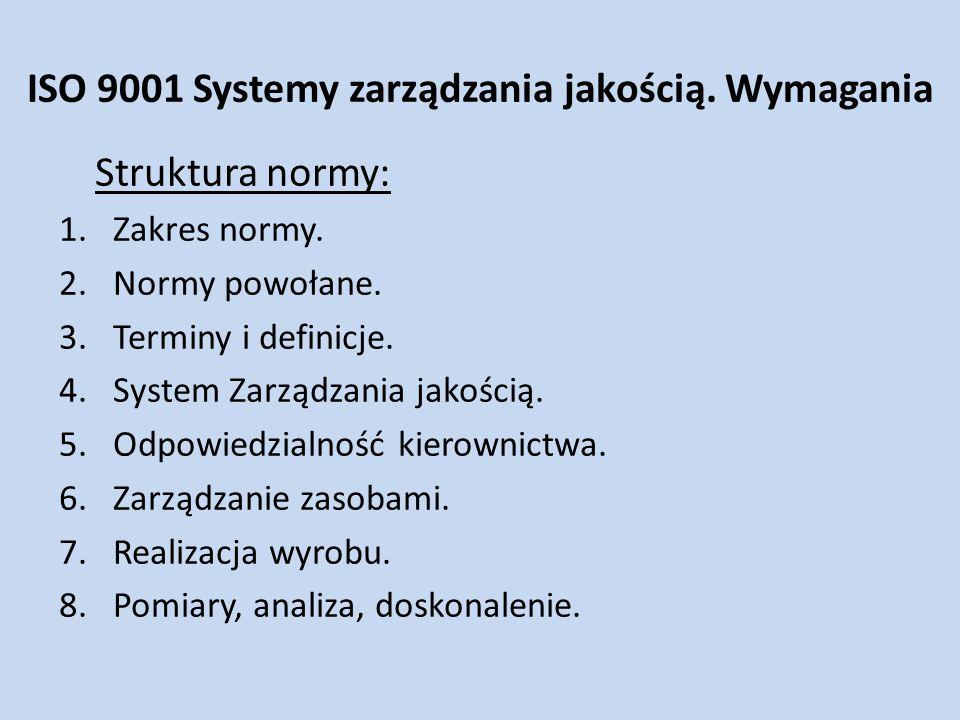 ISO 9001 Systemy zarządzania jakością. Wymagania Struktura normy: 1.Zakres normy. 2.Normy powołane. 3.Terminy i definicje. 4.System Zarządzania jakośc
