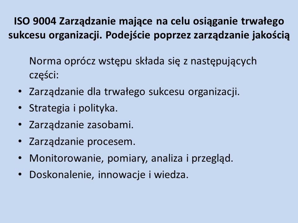ISO 9004 Zarządzanie mające na celu osiąganie trwałego sukcesu organizacji. Podejście poprzez zarządzanie jakością Norma oprócz wstępu składa się z na
