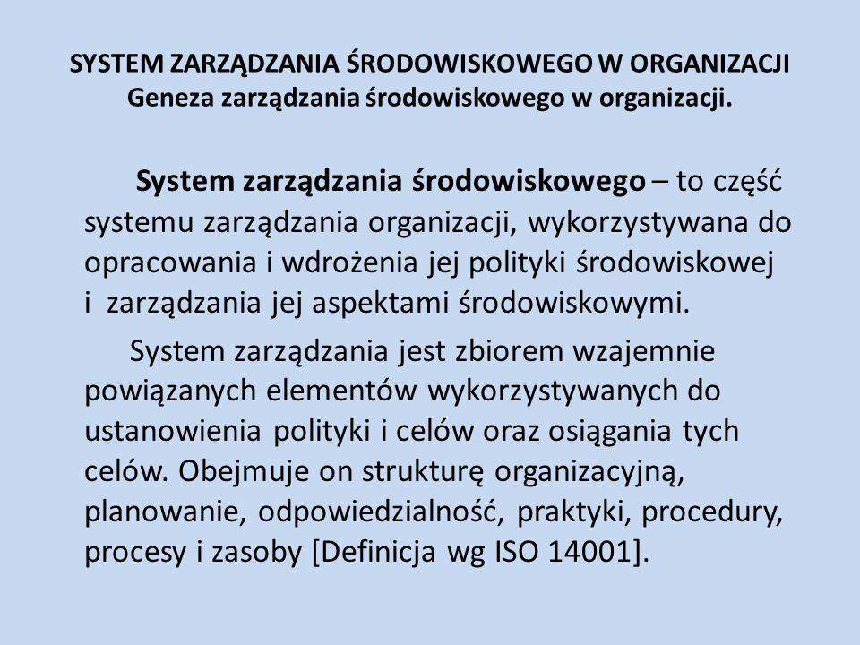 SYSTEM ZARZĄDZANIA ŚRODOWISKOWEGO W ORGANIZACJI Geneza zarządzania środowiskowego w organizacji. System zarządzania środowiskowego – to część systemu