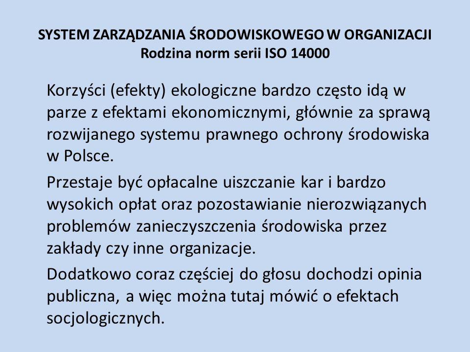 SYSTEM ZARZĄDZANIA ŚRODOWISKOWEGO W ORGANIZACJI Rodzina norm serii ISO 14000 Korzyści (efekty) ekologiczne bardzo często idą w parze z efektami ekonom