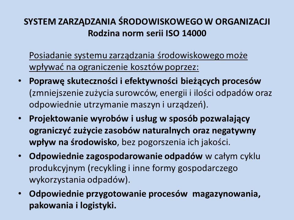 SYSTEM ZARZĄDZANIA ŚRODOWISKOWEGO W ORGANIZACJI Rodzina norm serii ISO 14000 Posiadanie systemu zarządzania środowiskowego może wpływać na ograniczeni