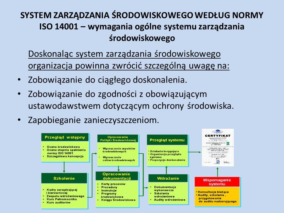 SYSTEM ZARZĄDZANIA ŚRODOWISKOWEGO WEDŁUG NORMY ISO 14001 – wymagania ogólne systemu zarządzania środowiskowego Doskonaląc system zarządzania środowisk