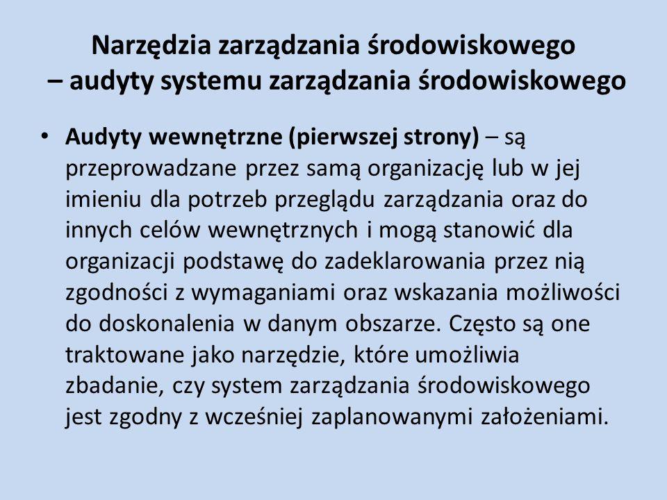 Narzędzia zarządzania środowiskowego – audyty systemu zarządzania środowiskowego Audyty wewnętrzne (pierwszej strony) – są przeprowadzane przez samą o