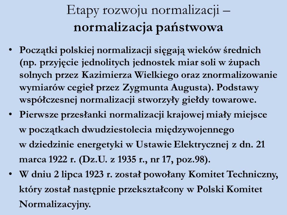 Etapy rozwoju normalizacji – normalizacja państwowa Początki polskiej normalizacji sięgają wieków średnich (np. przyjęcie jednolitych jednostek miar s