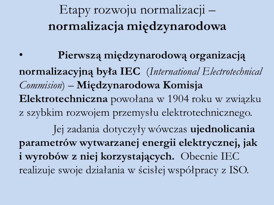 Etapy rozwoju normalizacji – normalizacja międzynarodowa Pierwszą międzynarodową organizacją normalizacyjną była IEC (International Electrotechnical C