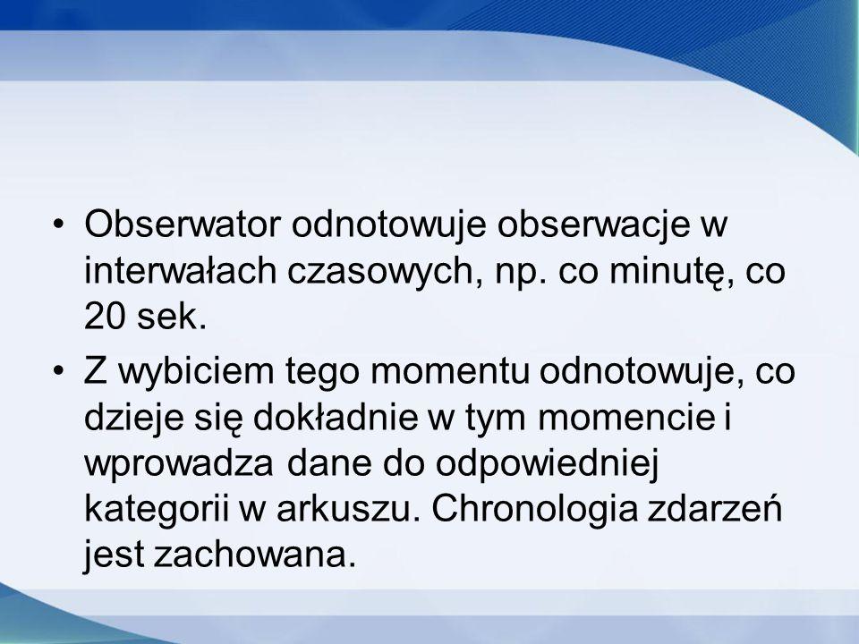 Obserwator odnotowuje obserwacje w interwałach czasowych, np. co minutę, co 20 sek. Z wybiciem tego momentu odnotowuje, co dzieje się dokładnie w tym