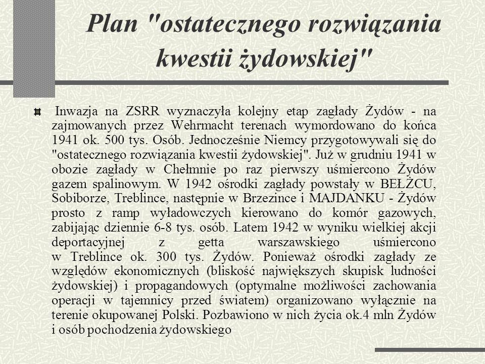 """""""Aktion T4"""" Polityka zagłady rozpętana już w połowie 1941 roku, trwała ok. 40 miesięcy (poprzedzała ją akcja T4 – program fizycznej eliminacji ludzi n"""