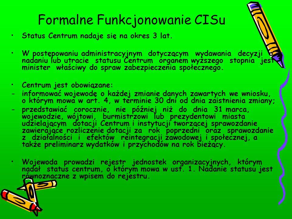 Formalne Funkcjonowanie CISu Status Centrum nadaje się na okres 3 lat.