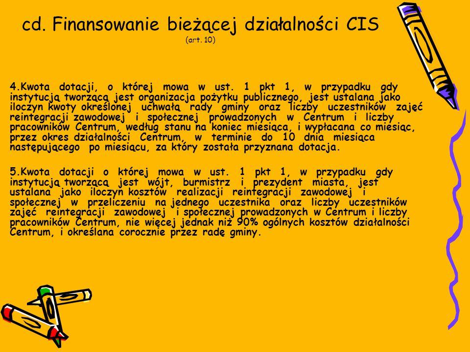 cd. Finansowanie bieżącej działalności CIS (art. 10) 4.Kwota dotacji, o której mowa w ust.