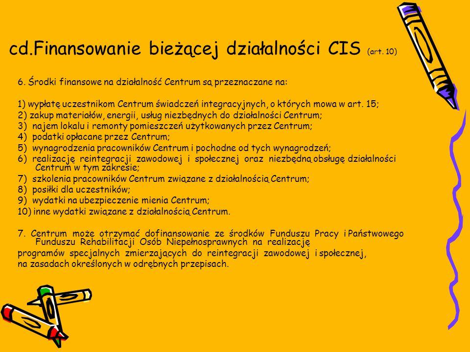 cd.Finansowanie bieżącej działalności CIS (art. 10) 6.