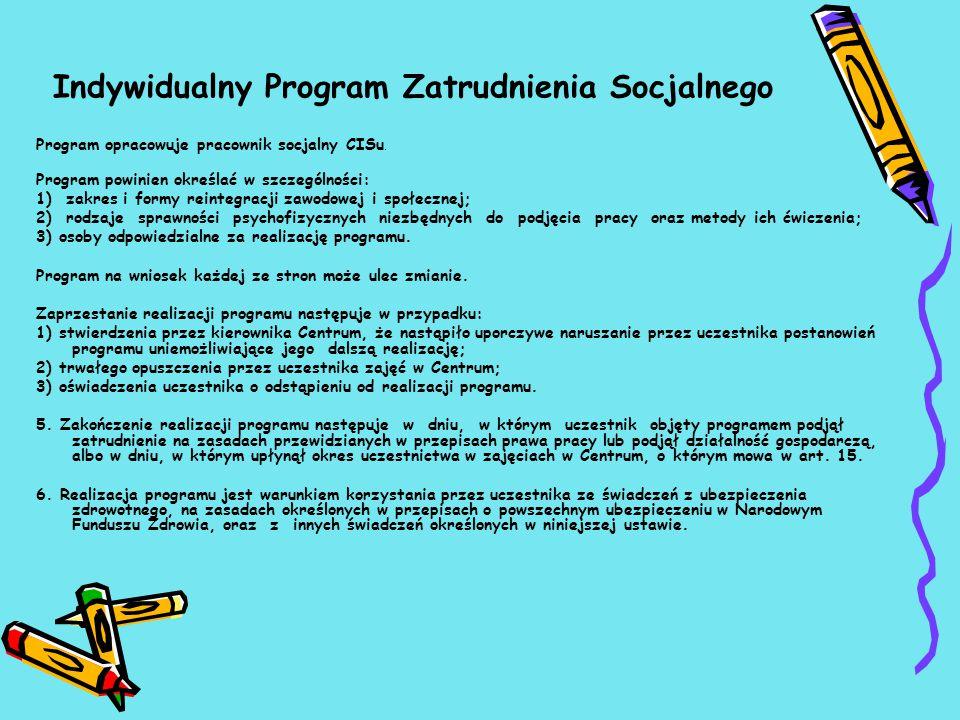 Indywidualny Program Zatrudnienia Socjalnego Program opracowuje pracownik socjalny CISu.