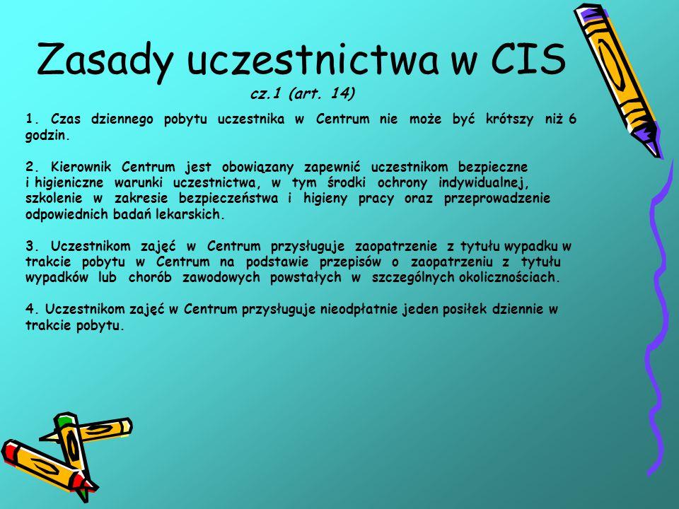 Zasady uczestnictwa w CIS cz.1 (art. 14) 1.