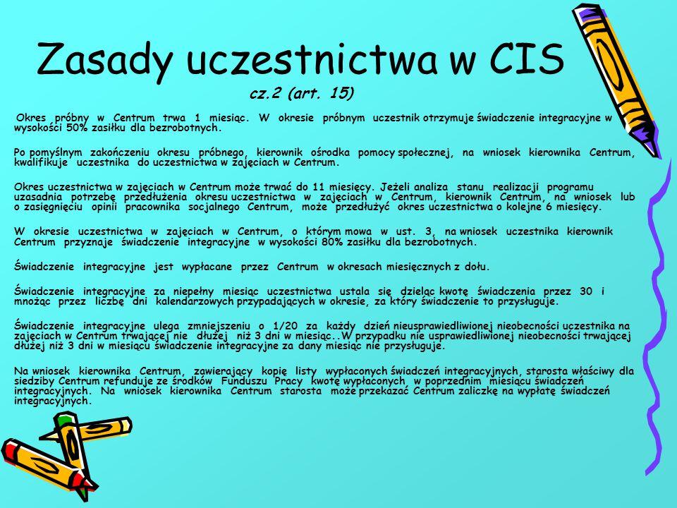 Zasady uczestnictwa w CIS cz.2 (art.15) Okres próbny w Centrum trwa 1 miesiąc.