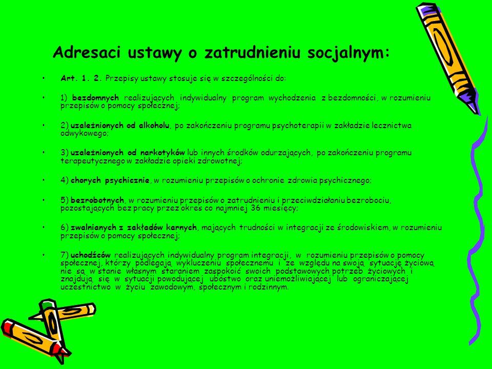 Adresaci ustawy o zatrudnieniu socjalnym: Art.1. 2.