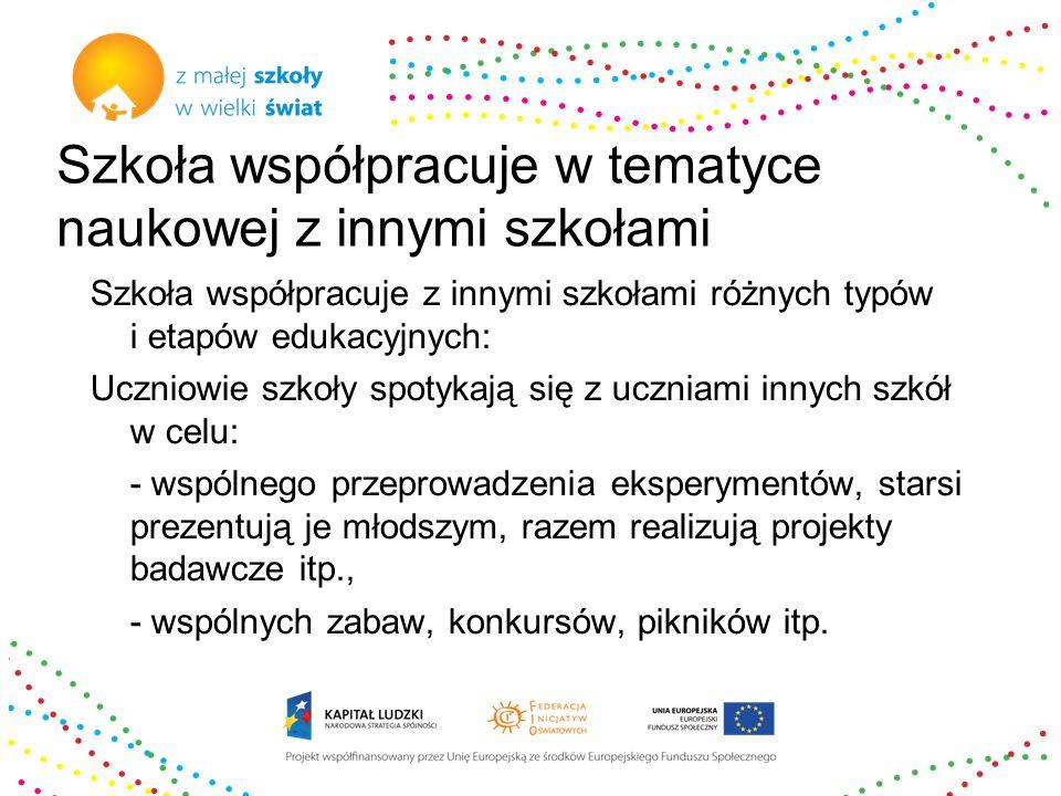 Szkoła współpracuje w tematyce naukowej z innymi szkołami Szkoła współpracuje z innymi szkołami różnych typów i etapów edukacyjnych: Uczniowie szkoły