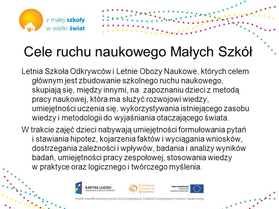 Ruch naukowy Małych Szkół Przez naukę w Małej Szkole do NAUKI w wielkim świecie.