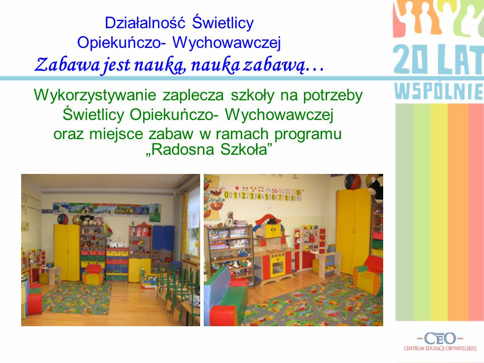 Działalność Świetlicy Opiekuńczo- Wychowawczej Zabawa jest nauką, nauka zabawą… Wykorzystywanie zaplecza szkoły na potrzeby Świetlicy Opiekuńczo- Wych