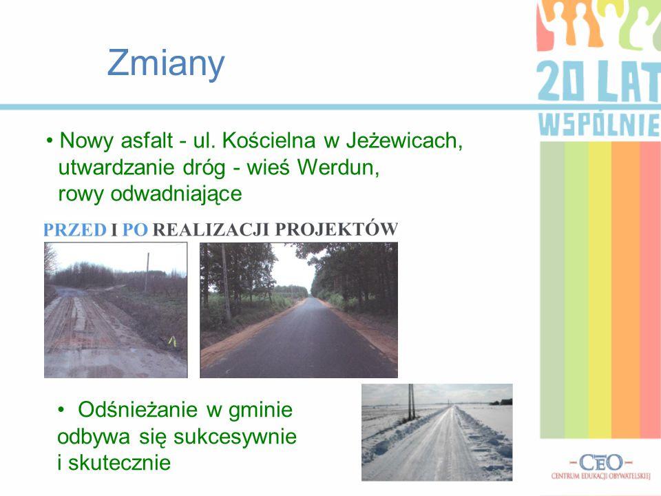 Zmiany Nowy asfalt - ul. Kościelna w Jeżewicach, utwardzanie dróg - wieś Werdun, rowy odwadniające Odśnieżanie w gminie odbywa się sukcesywnie i skute