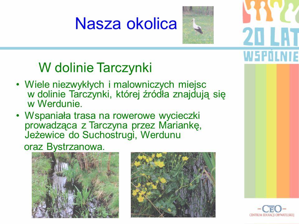 W dolinie Tarczynki Wiele niezwykłych i malowniczych miejsc w dolinie Tarczynki, której źródła znajdują się w Werdunie. Wspaniała trasa na rowerowe wy