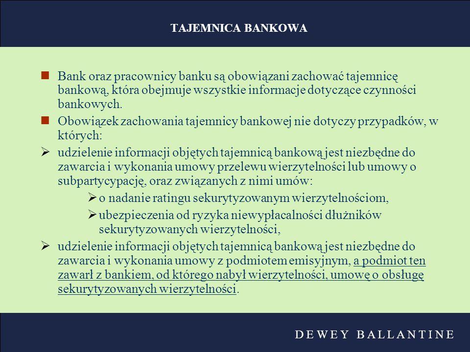 D E W E Y B A L L A N T I N E TAJEMNICA BANKOWA nBank oraz pracownicy banku są obowiązani zachować tajemnicę bankową, która obejmuje wszystkie informa