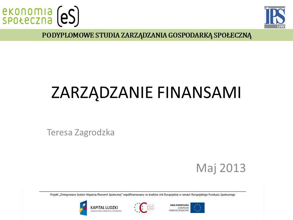 ZARZĄDZANIE FINANSAMI Teresa Zagrodzka Maj 2013 PODYPLOMOWE STUDIA ZARZĄDZANIA GOSPODARKĄ SPOŁECZNĄ