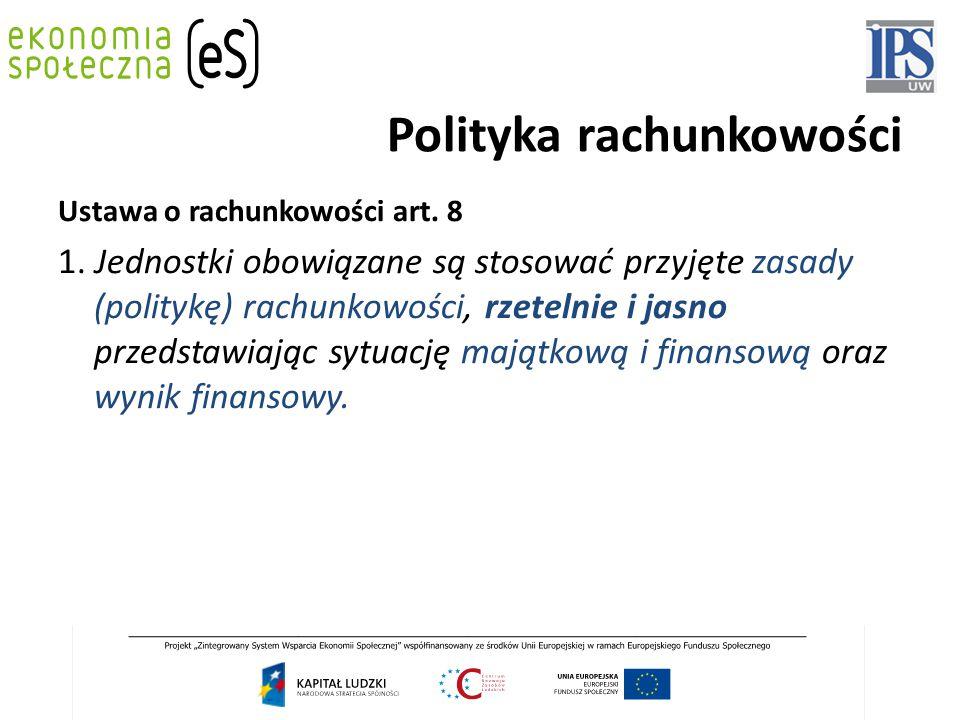 Polityka rachunkowości Ustawa o rachunkowości art. 8 1. Jednostki obowiązane są stosować przyjęte zasady (politykę) rachunkowości, rzetelnie i jasno p