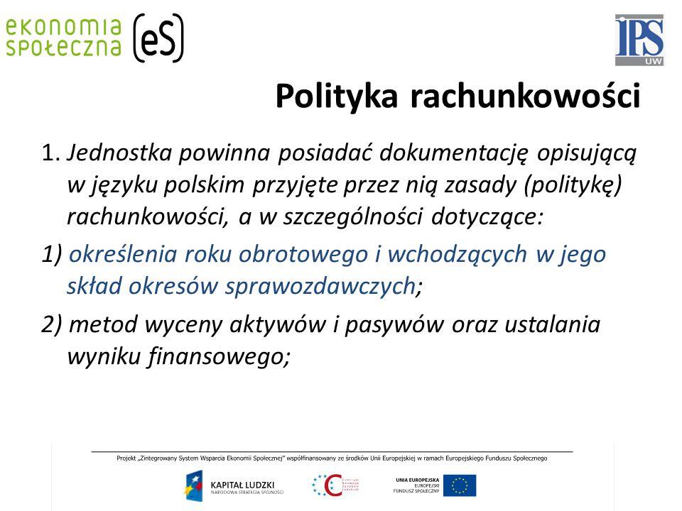 Polityka rachunkowości 1. Jednostka powinna posiadać dokumentację opisującą w języku polskim przyjęte przez nią zasady (politykę) rachunkowości, a w s
