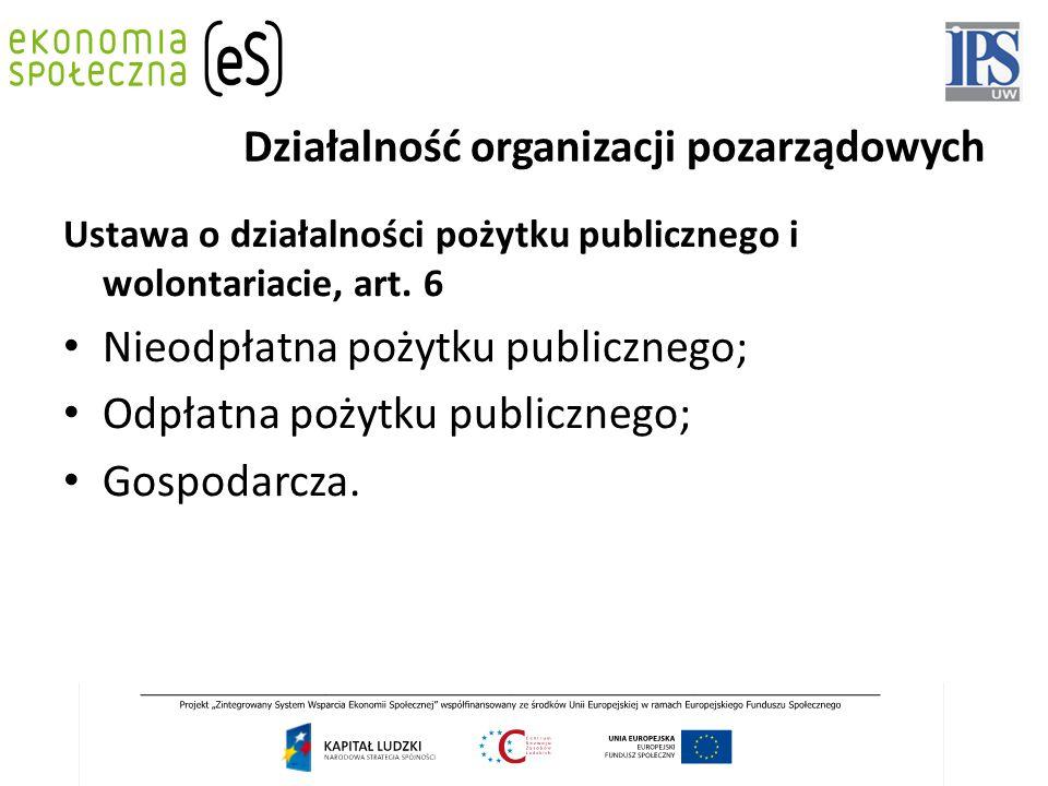 Działalność organizacji pozarządowych Ustawa o działalności pożytku publicznego i wolontariacie, art. 6 Nieodpłatna pożytku publicznego; Odpłatna poży