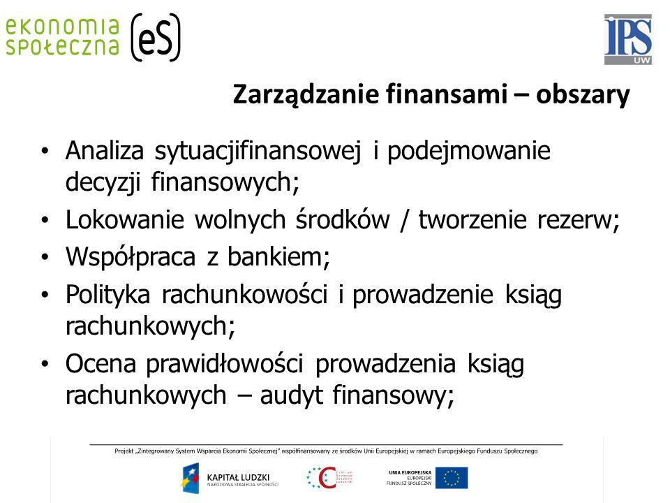 Zarządzanie finansami – obszary Analiza sytuacjifinansowej i podejmowanie decyzji finansowych; Lokowanie wolnych środków / tworzenie rezerw; Współprac