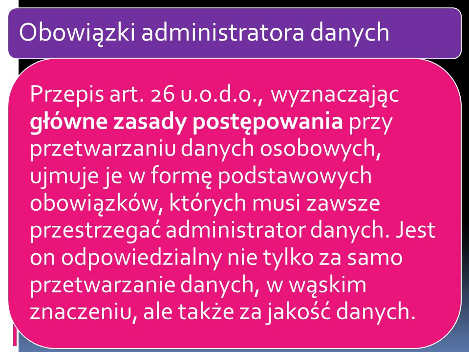 Obowiązki administratora danych Przepis art.