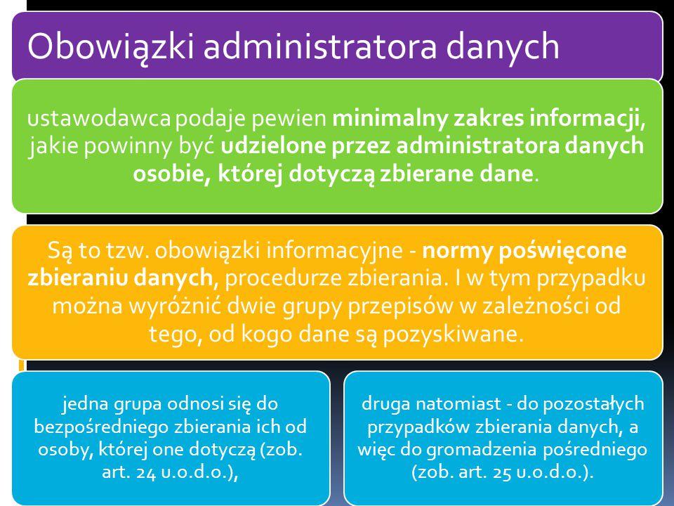 Obowiązki administratora danych ustawodawca podaje pewien minimalny zakres informacji, jakie powinny być udzielone przez administratora danych osobie, której dotyczą zbierane dane.