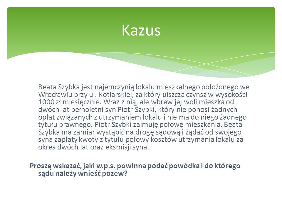 Beata Szybka jest najemczynią lokalu mieszkalnego położonego we Wrocławiu przy ul. Kotlarskiej, za który uiszcza czynsz w wysokości 1000 zł miesięczni