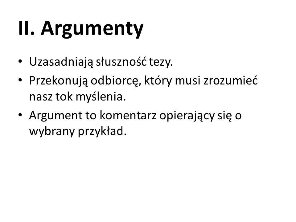 II.Argumenty Uzasadniają słuszność tezy.